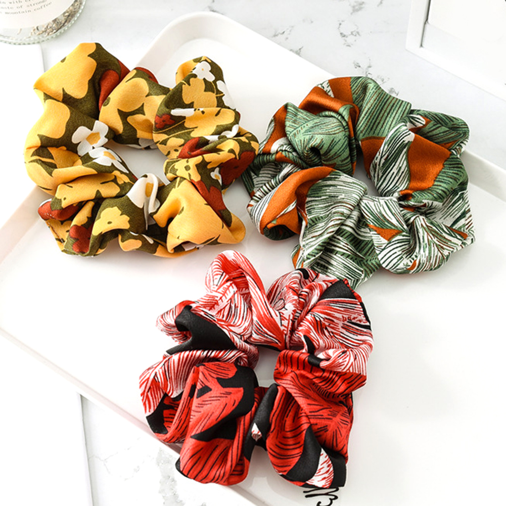 Scrunchies Hair-Ties Glitter Velvet Elastic Large Women Floral Chiffon Small Girls' No-Crease
