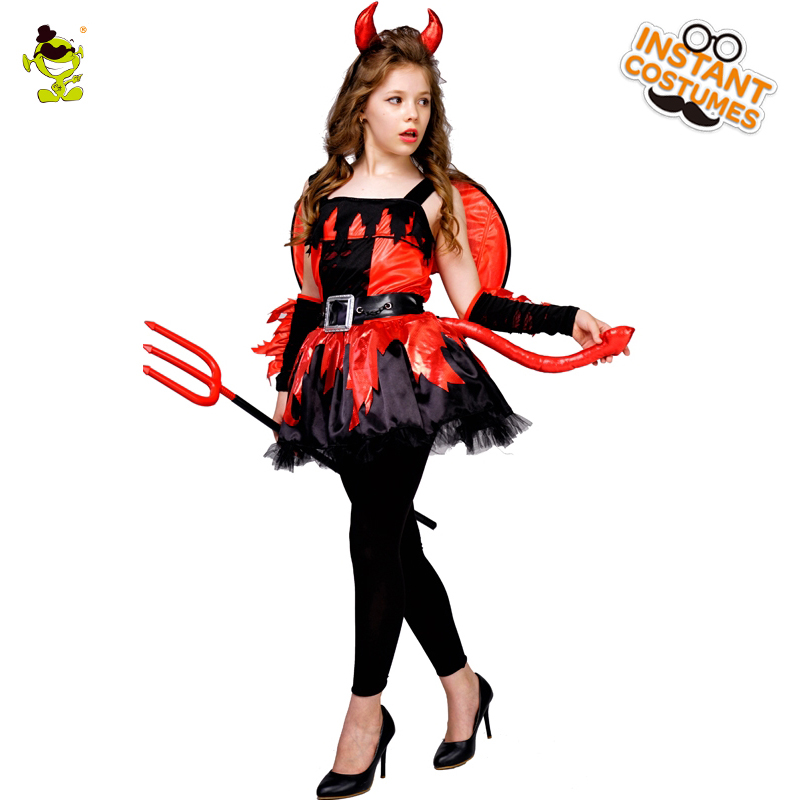 Halloween Party Kids Girl's Devil Costume Fancy Dress Purim Party Cosplay Girl's Devil Dress Costumes