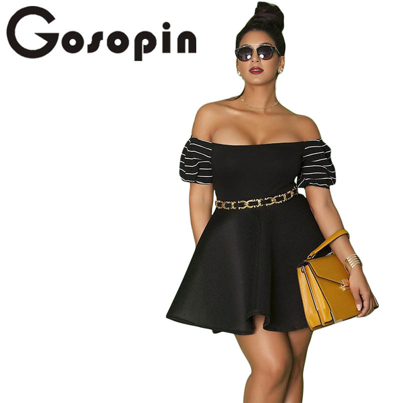 637814b027b Gosopin Plus Size Skater Dresses Off Shoulder Pleated Mini Sexy Summer Dress  Black Big Size Party