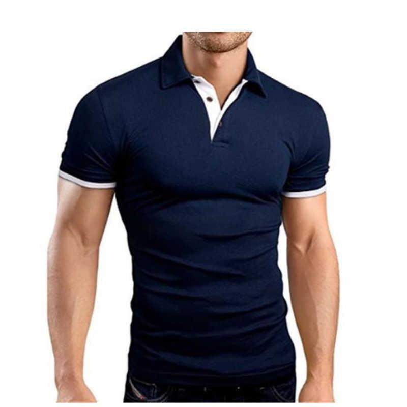 夏男性ポロシャツ半袖ターンオーバーの襟スリムカジュアル通気性無地ビジネスシャツ色ポロシャツ TJWLKJ