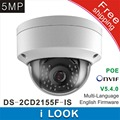 Frete grátis Novo modelo DS-2CD2155F-IS 5Mp Áudio Alarme I/O interface de Câmera Dome CCTV IP POE H265