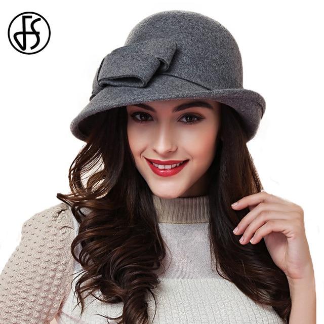 e8e754e58a1 FS Elegant Ladies Wool Felt Bowler Fedora Hats Black Red Khaki Autumn  Winter Women Large Bowknot