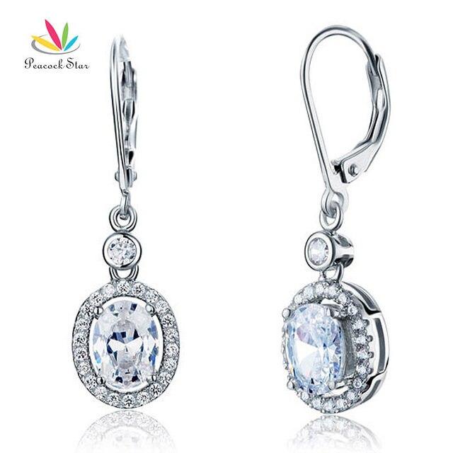Павлин Звезда 1.5 Карат Создания Алмазная Стерлингового Solid 925 Silver Мотаться Свадебные свадебное Невесты Серьги CFE8061