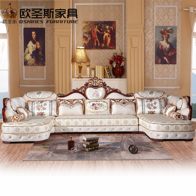 luxury U shaped sectional living room furniutre Antique Europe design new classical heart wooden carving fabric sofa sets 5538 the new listing luxury living room