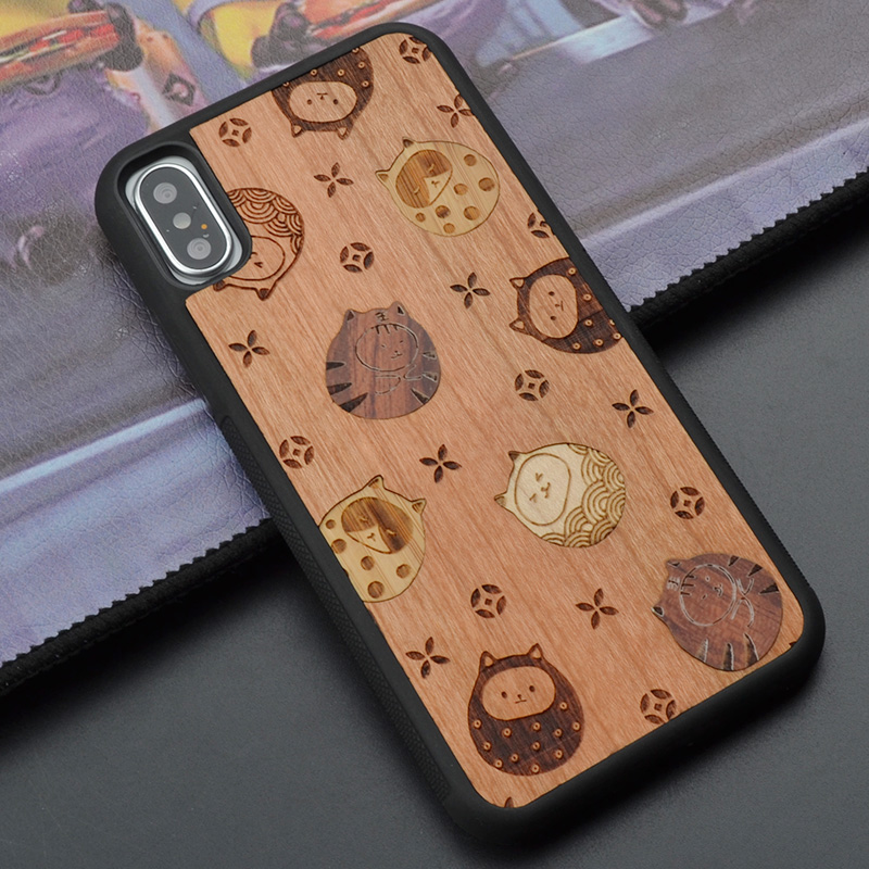For iPhone 6 s 7 8 plus X Small cute cat retro unique wood phone case for Sony Z 4 5 wooden cover for Huawei P 10 plus