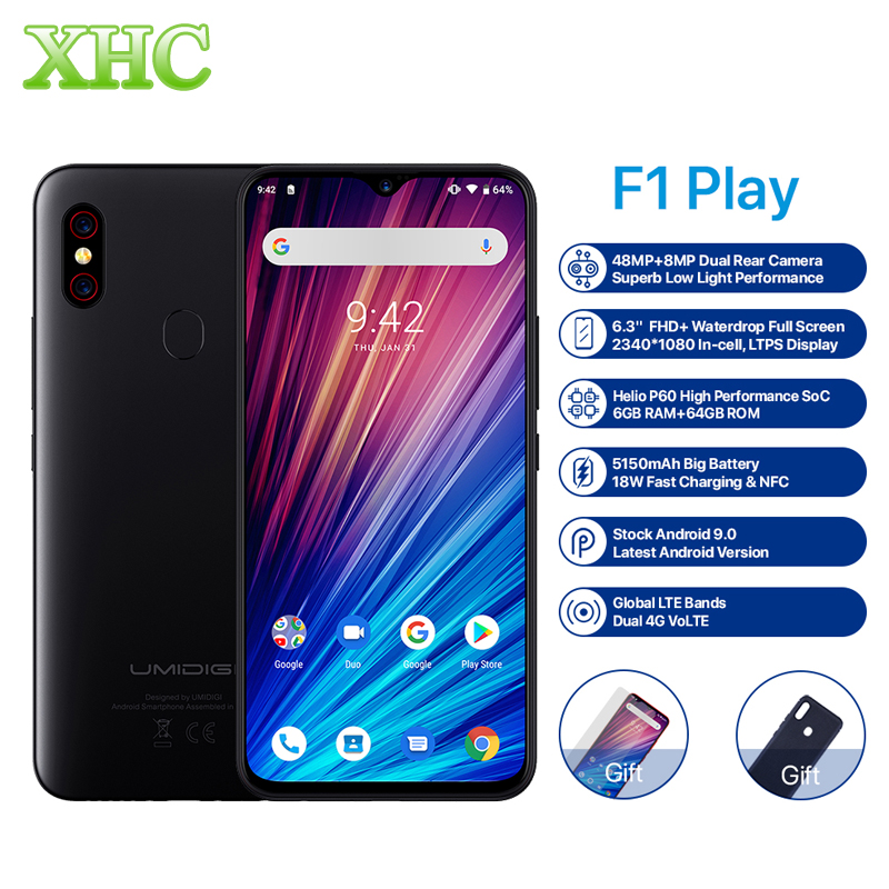 "UMIDIGI F1 Play Android 9.0 48MP+8MP+16MP Cameras Mobile Phone 6GB RAM 64GB ROM 6.3"" FHD+ Helio P60 Global Smartphone Dual 4G"