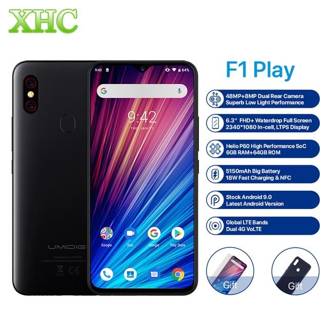 UMIDIGI F1 Play Android 9,0, 48MP + 8MP + 16MP камеры, мобильный телефон, 6 ГБ ОЗУ, 64 Гб ПЗУ, 6,3 дюймов, FHD + Helio P60, глобальный смартфон, двойной, 4G