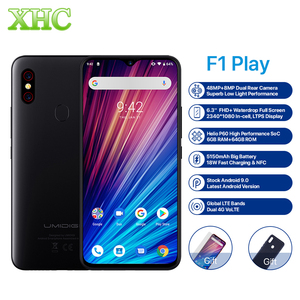 "Image 1 - UMIDIGI F1 Play Android 9.0 48MP+8MP+16MP Cameras Mobile Phone 6GB RAM 64GB ROM 6.3"" FHD+ Helio P60 Global Smartphone Dual 4G"
