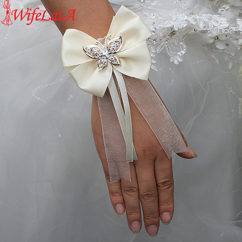 Wifelai-a New Design Ivory Silk Bow Tie Butterfly Crystal Wrist Flowers Bride Ribbon Wedding Corsage Hand Flowers