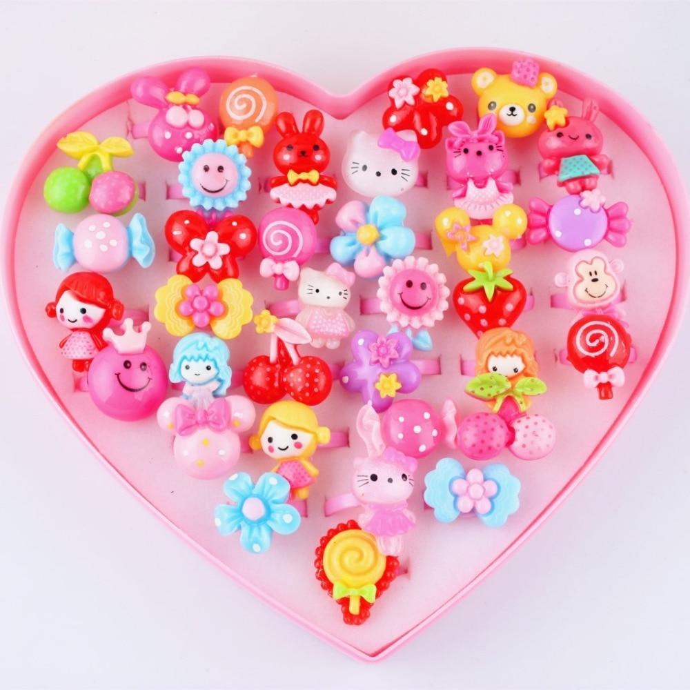 Estilos para bebês meninas com 10 peças, estilos misturados de desenhos animados, legumes e frutas, animais coloridos de doces, flores de desenhos animados, crianças/bebês anel de anel