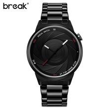Romper los amantes de Lujo Mujeres de la Marca de Reloj de Cuarzo Para Hombre de Acero Reloj de Los Hombres de Moda Negro Estilo Simple Reloj Casual Relojes 2016