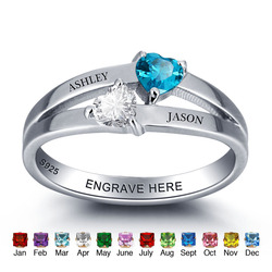 925 Sterling Silver Personalized Birthstone Engagement Ring Double Heart Engrave Name Romantic Birthday Gift For Her (RI101976)