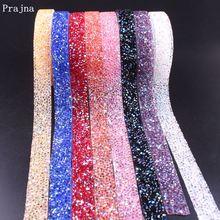 Prajna 1 Yard Rhinestone Tape 1.5cm Sewing Trim Crystal Motif Strass Hot Fix Decoration Iron On Appliques For Dresses