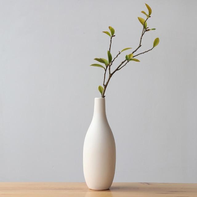 8inch Japanese Style Vase White Ceramic Flower Vase For Hydroponic