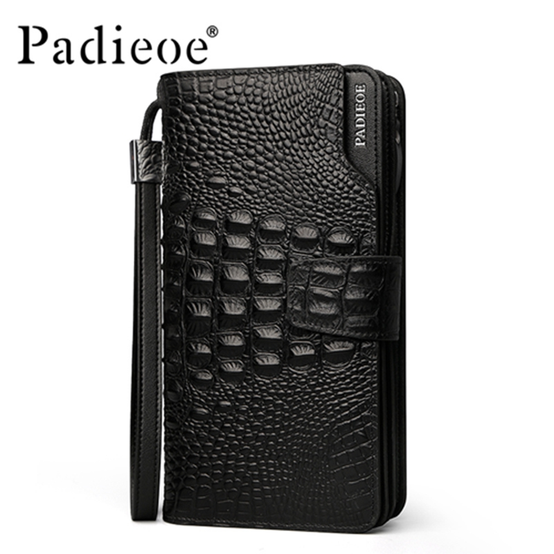 ФОТО Padieoe Luxury Crocodile Pattern Design male Wallet Durable Genuine leather men's wallets Top Quality Fashion handbag Wallet