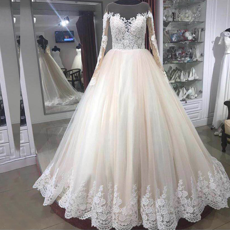 2019 New Arrival Wedding Gown Elegant Lace Appliques Long Sleeves Bridal Gowns Vestidos Custom Made Floor-Length Dresses Платье