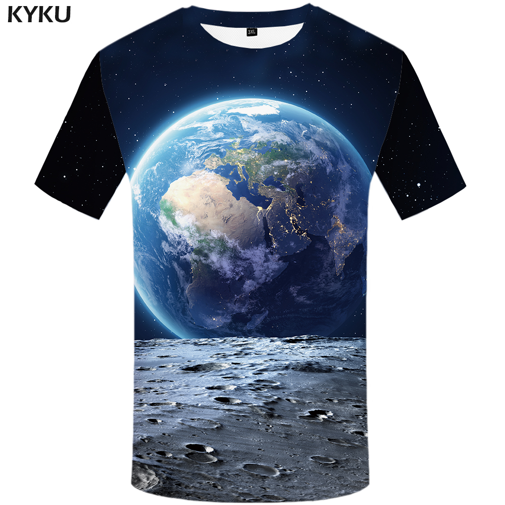 KYKU Brand Earth T Shirt Men Space Tshirt Moon 3d T-shirt Hip Hop Tee Cool Mens Clothing 2018 New Summer Casual Short Sleeve 4xl