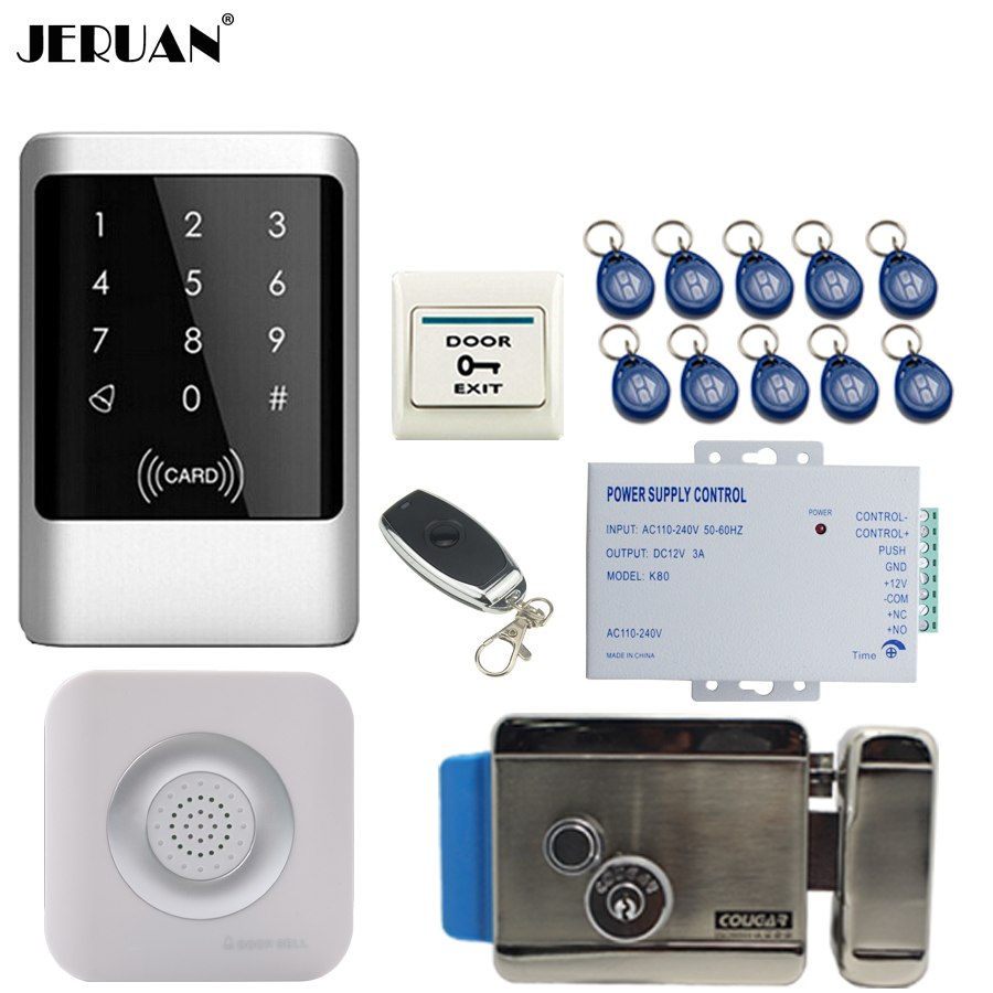 JERUAN Metal RFID Password Access Controller Touch key Waterproof Door control system kit +Doorbell +12V Electric Lock In stock jeruan metal waterproof rfid password touch access controller system kit speaker doorbell remote control in stock free shipping