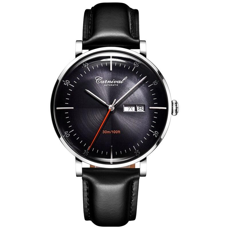 Karneval Mechanische Automatische Uhr Männer Reloj Hombre Lederband Herren Uhren Top Brand Luxus Wasserdicht Gold Armbanduhr-in Mechanische Uhren aus Uhren bei  Gruppe 2