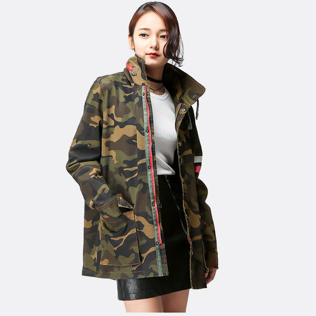 cbdea64377f79 Women Military Coat Hooded Pockets Design Back Letter Print Army Green  Camouflage Trench Coat Boyfriend Outerwear Autumn 2016