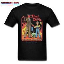 Volwassen T-shirt Mannen Deal Met De Duivel Tshirt Nieuwigheid Economische Kinderen Comics Designer T-shirt Demon Satanic Tops & Tees voor Mannen