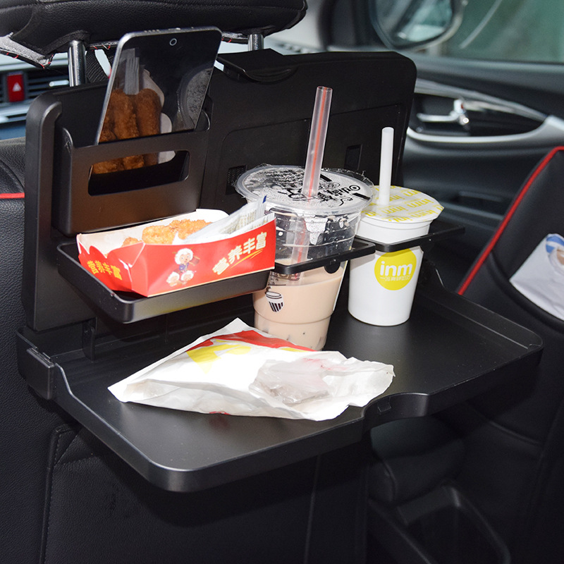 Auto Car Back Seat Folding Table Stowing Tidying Drink Food Cup Tray Holder Stand Desk Laptop Dinning Organizer Rack Accessories