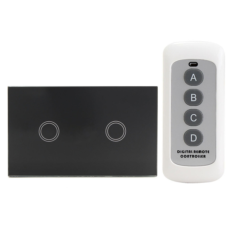 EU/UK Standard 2 Gang 2 Way Remote Control Switch, Smart Wall Light Switch, Touch Light Switch For Smart Home Popular eu uk standard sesoo remote control switch 3 gang 1 way wireless remote control wall touch switch light switch for smart home