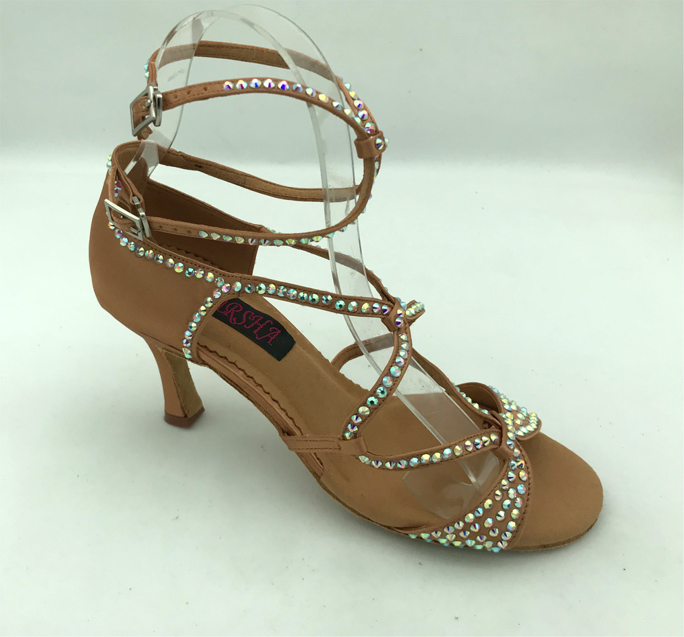 Hot Sale womens dance shoes latin ballroom tango shoes with rhinestones 6221DTN crystal