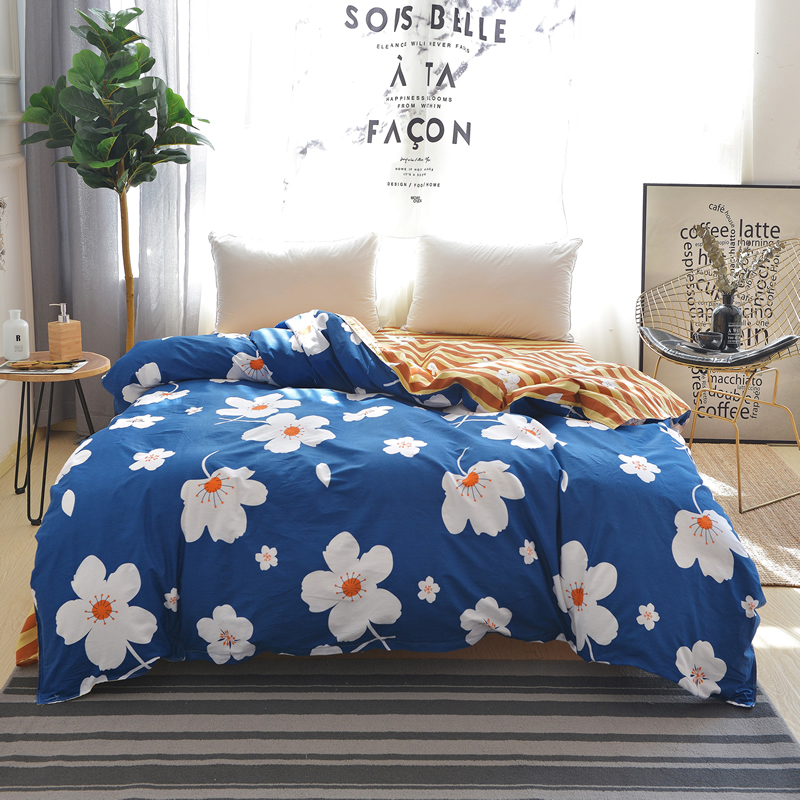 Light Blue White Print Pattern 1pc 100% Cotton Duvet Cover Warm Sets Twins Queen Can Be Customized Quilt or Comforter 220x240cm