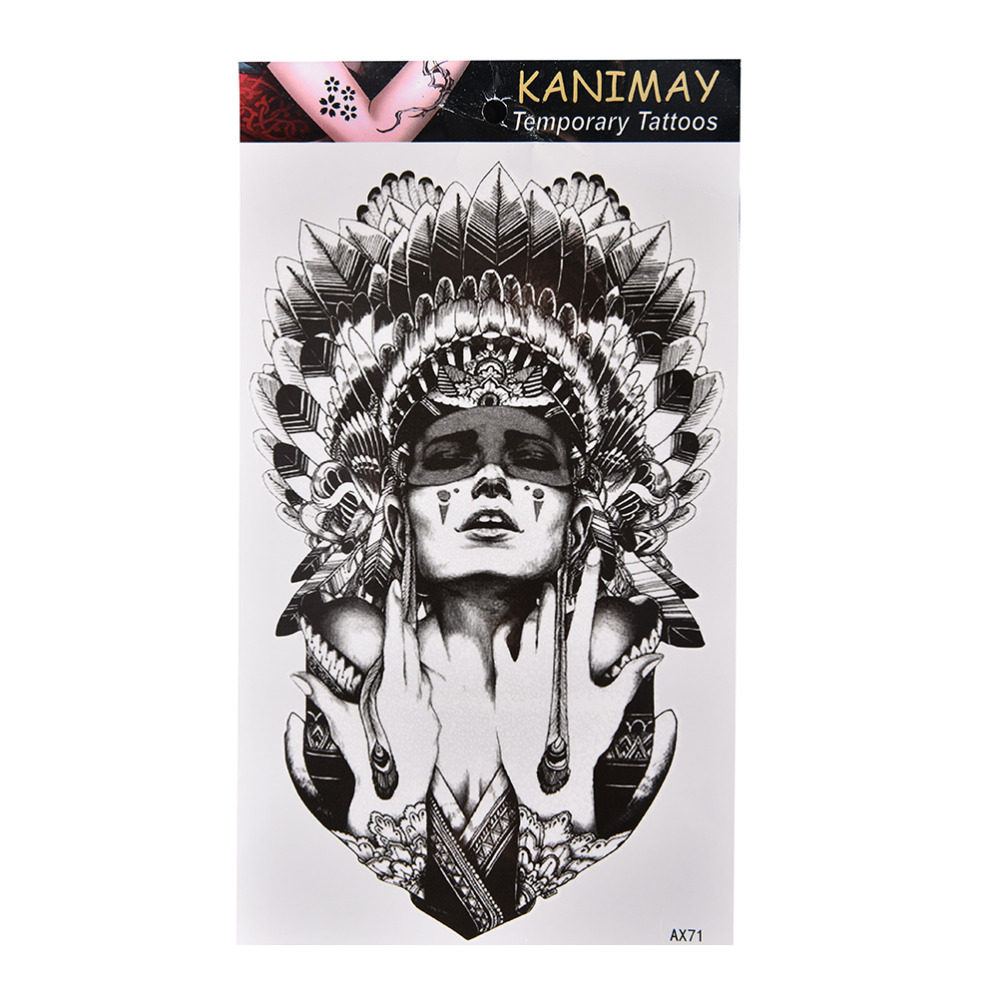 Waterproof Retro Ancient Women Temporary Tattoo Large Arm Body Art Tattoos Sticker