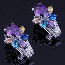 Glowing Flower Multigem Multicolor Yellow Cubic Zirconia 925 Sterling Silver Clip Hoop Huggie Earrings For Women V0910