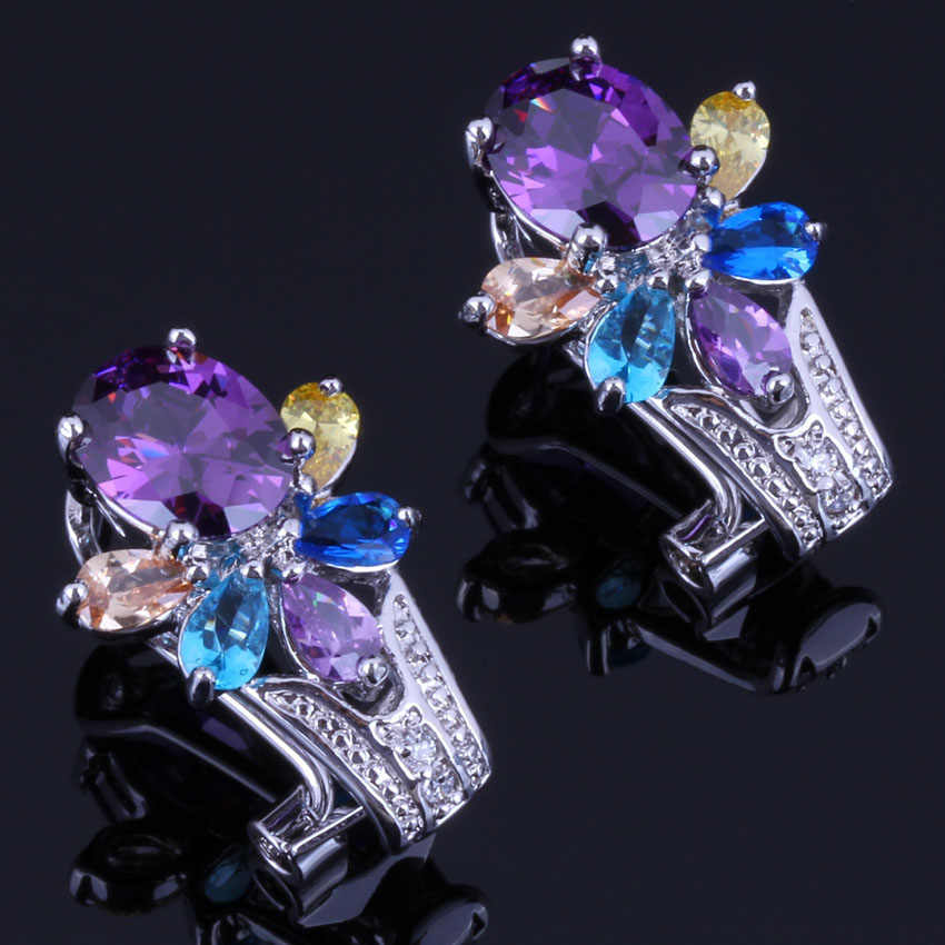 ดอกไม้เรืองแสง Multigem Multicolor Cubic Zirconia 925 เงินสเตอร์ลิง Hoop Huggie ต่างหูผู้หญิง V0910