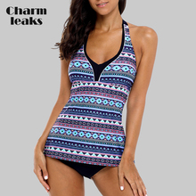 Charmleaks Women Tankini Set Two Piece Swimwear Vintage Floral Printed Swimwear Tie Front Swimsuit Bikini Bathing Suit
