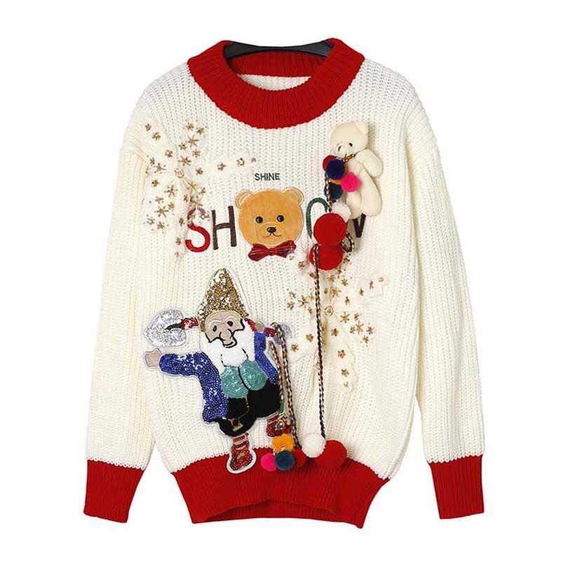 Nieve Fiesta rosado Divertido Flores Apliques Navidad Suéteres Lentejuelas Jumper Suéter Niñas Punto Ns870 Marfil De Jersey rojo Oso aa1AXP