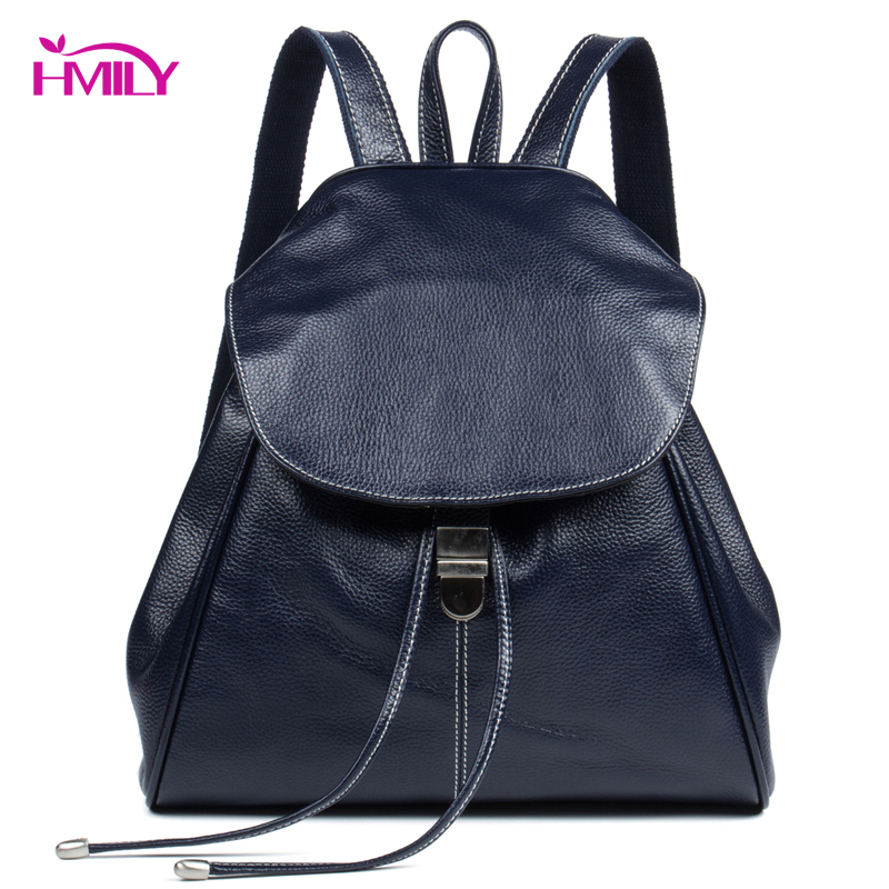 HMILY Women Backpack Genuine Leather Female Daypack Real Leather Travel Bag Ladies Large Capacity Student School Bag Fashion men original leather fashion travel university college school book bag designer male backpack daypack student laptop bag 9950