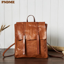 PNDME vintage casual first layer cowhide ladies backpack handmade soft genuine leather anti theft womens travel schoolbag