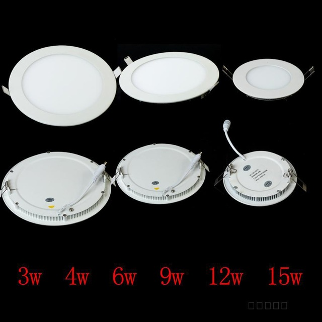 Dimmable Ultra thin 3W/4W/6W / 9W / 12W / 15W/ 25W LED Ceiling Recessed Grid Downlight / Slim Round Panel Light + driver