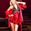 Большой Размер 3XL Сексуальное Женское Белье Халат Атласные Кружева Кимоно Интимная Пижамы Robe Sexy Вечернее Платье Имитационные Шелковый Белье Украина