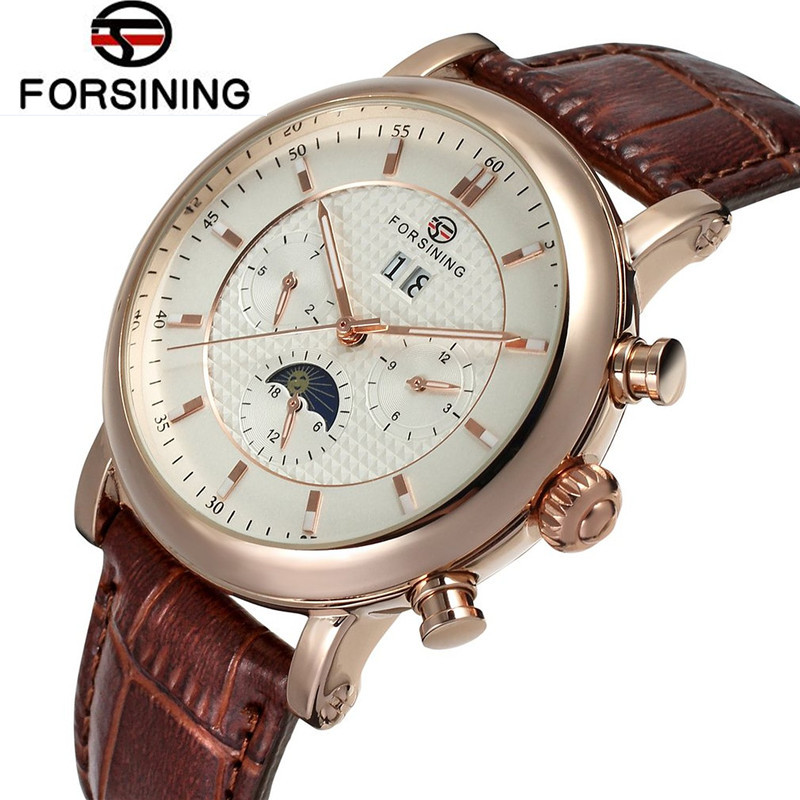 Fosining Top Brand Man Watches Auto Moonpahse Gold Rose White Dial Mechanical Watch Genuine Leather Wristwatch Gift Free Ship fosining luxury montre homme watch men s auto mechanical moonpahse genuine leather strap watches wristwatch free ship