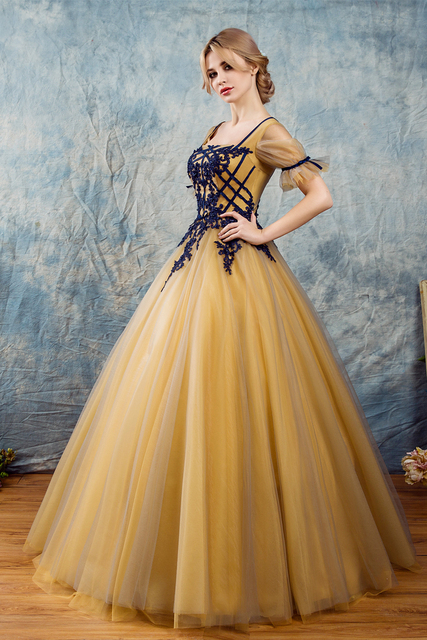 2019 New Gold Quinceanera Dresses Tulle With Lace Appliques Short Sleeve Masquerade Ball Gown Sweet 16 Dress Vestidos De 15 Anos-in Quinceanera ...