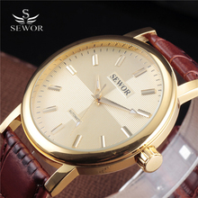 2018 SEWOR Brand Large Dial Skeleton Men Male Military Army Clock Classic Luxury Gold Mecha