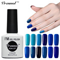 Vrenmol LED UV Gel Nail Polish Semi Permanent Pure Colors Blue Series Nail Gel Soak Off Nail Varnish UV Gel Lacquer