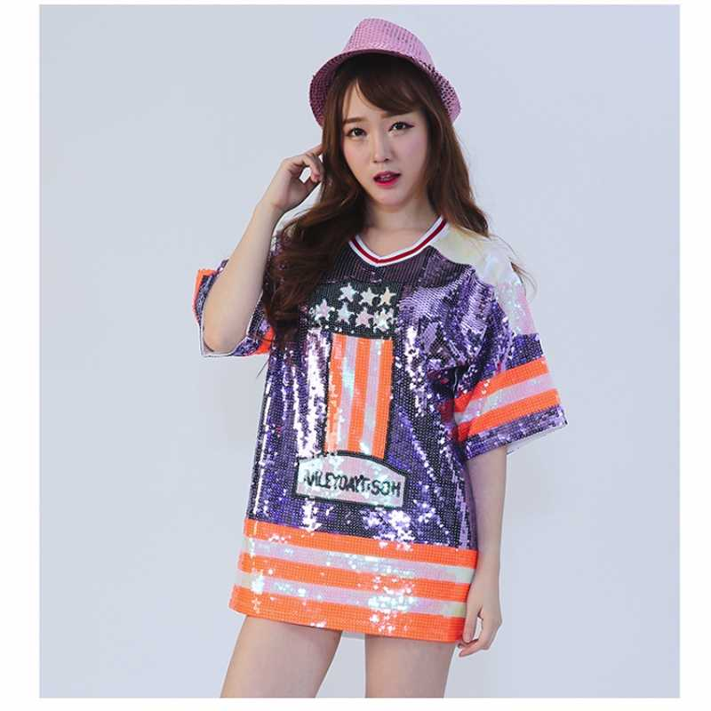 Summer Sexy Lilac Orange Women V Collar Short Sleelve Mini Sequin T-Shirt  Dress Casual 2c0a94a1ecb7
