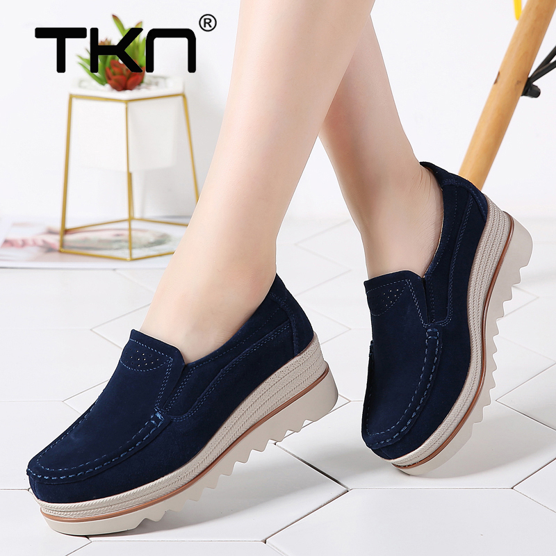2019 Spring Women Flats Shoes Platform Sneakers   Leather     Suede   Thick Soled Slip on Creeper Chaussure Femme Moccasins Woman 3088