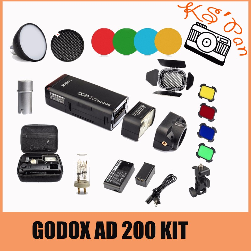 DHL Godox AD200 2.4G TTL Flash 1/8000 HSS Monolight for Nikon Canon Sony + AD-S2 Standard Reflector + AD-S11 Color Filter Pack godox ad200 200ws 2 4g ttl flash 1 8000 hss monolight for nikon for canon for sony