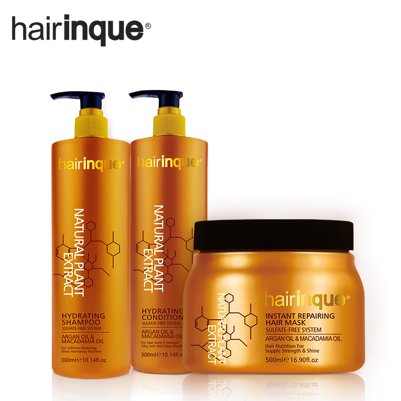 HAIRINQUE sulfate free system hair care set hair shampoo and hair conditioner and hair mask with argan oil and Macadamia nut oil ...