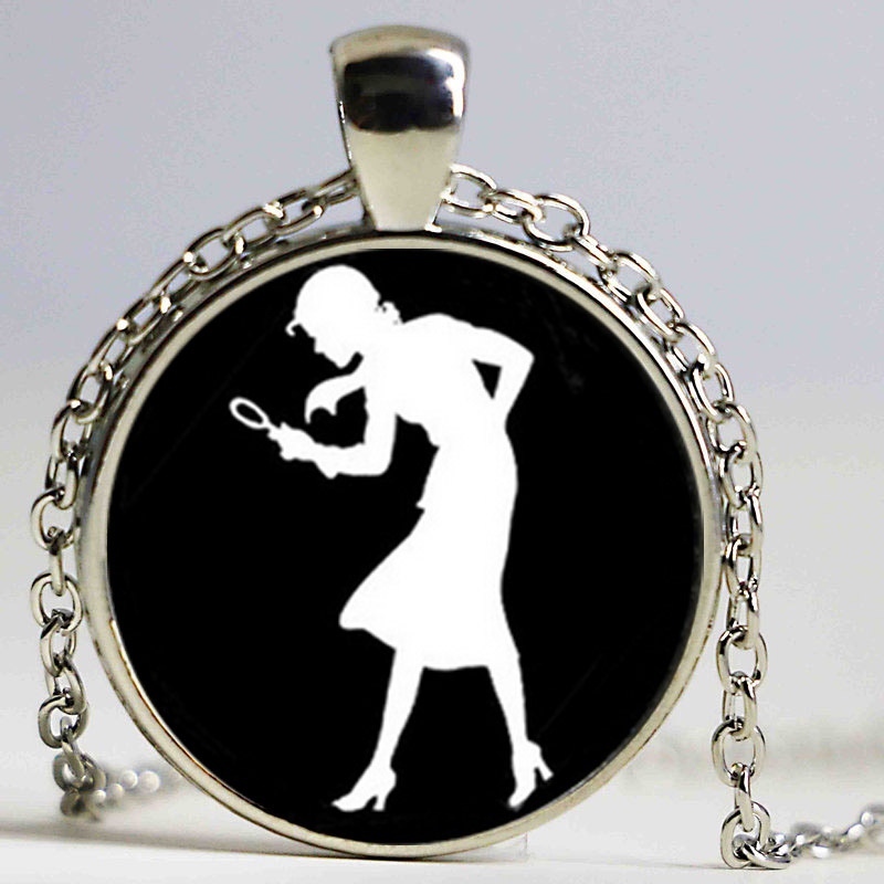 Nancy Drew necklace Girl Detective, Mystery Book Jewelry, Black and White Art necklace W ...