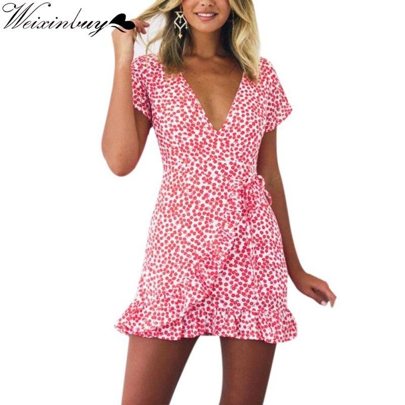 WEIXINBUY Sexy V-neck Women Floral Print Mini Dress Ruffle Vintage Frill Short Summer Dress Beach Party Irregular Vestidos Y3 худи xxxtentacion