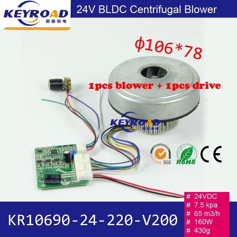 160W 24V 7,5kPa Niski poziom hałasu Wysokociśnieniowa dmuchawa odśrodkowa BLDC + 1szt Sterownik jazdy do sadzarki lub odpylania przemysłowego