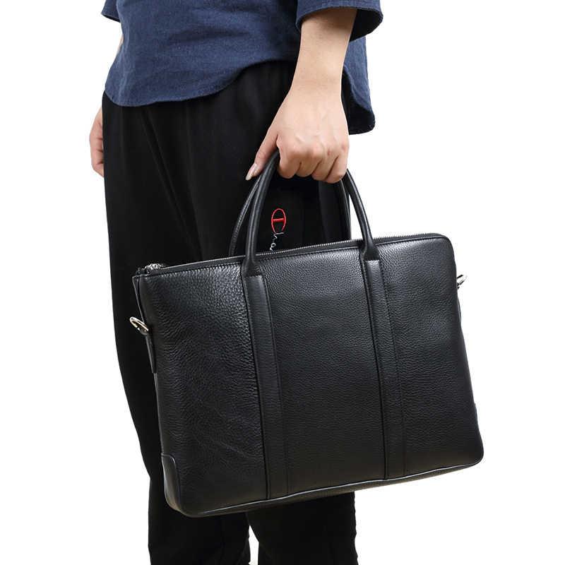WOONAM Mannen Aktetas High-end Luxe Mannen Bag Top Grain Echt kalf Lederen Notebook Case Tas Mannen Top Handvat Schoudertas BG1018
